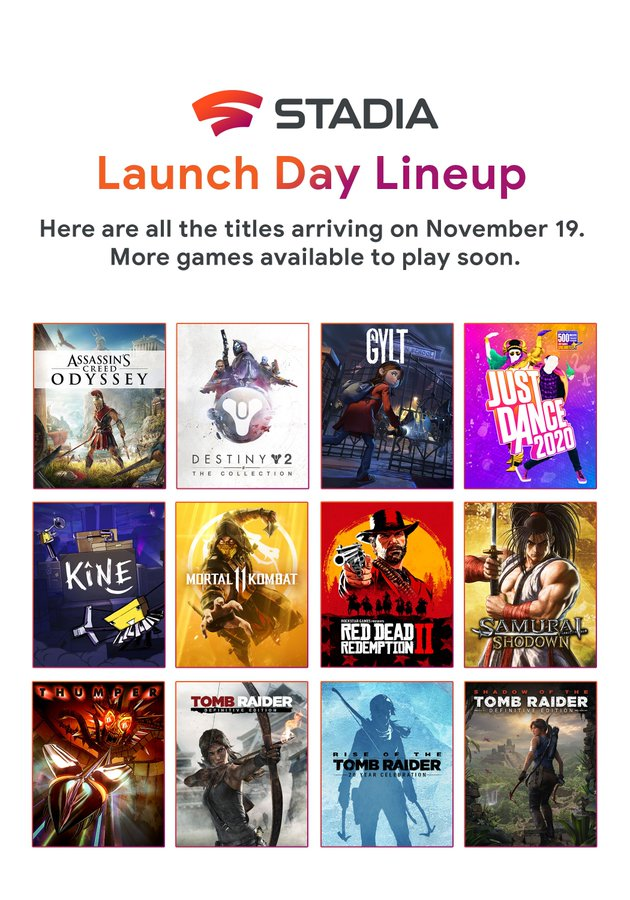 Google Stadia starts with 12 games, first line-up known