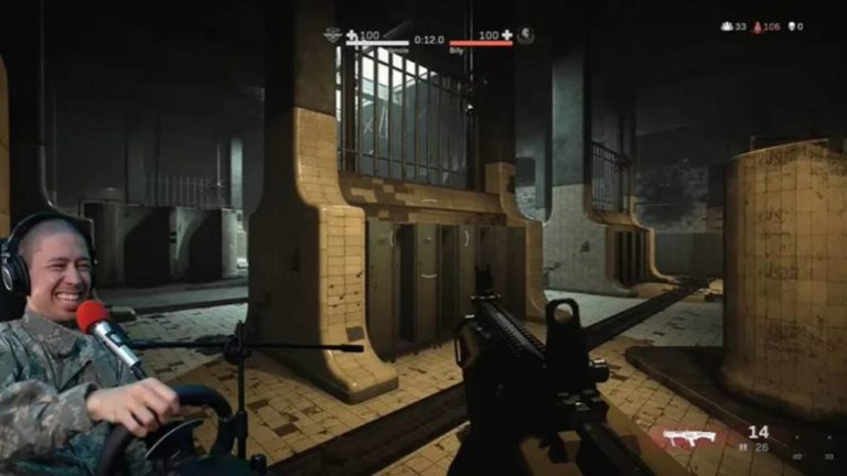 A streamer wins in the Gulag of Call of Duty: Warzone using a steering wheel