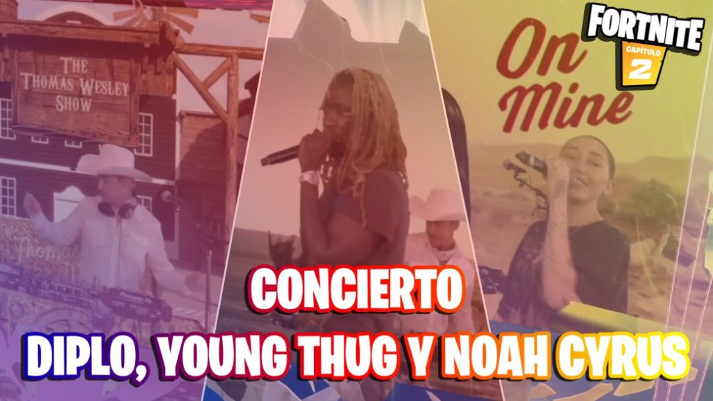 Diplo, Young Thug, and Noah Cyrus concert at Fortnite Master Party; so it has been