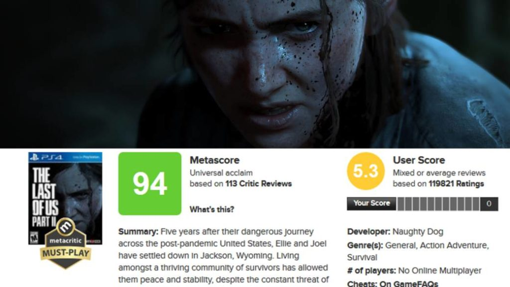 After The Last of Us Part 2, Metacritic applies changes to avoid review bombing