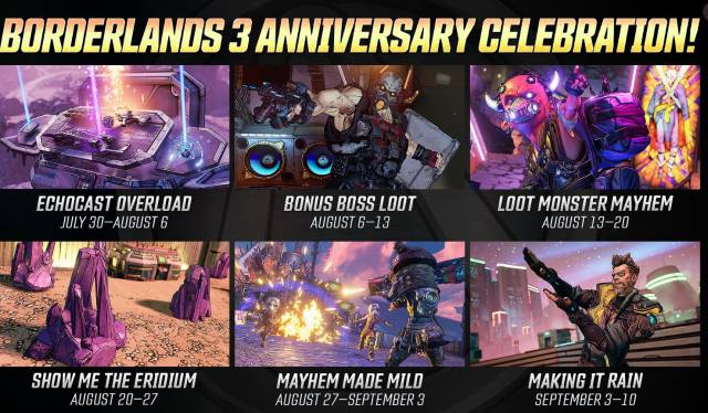 Borderlands 3 anniversary events PC PS4 Xbox One