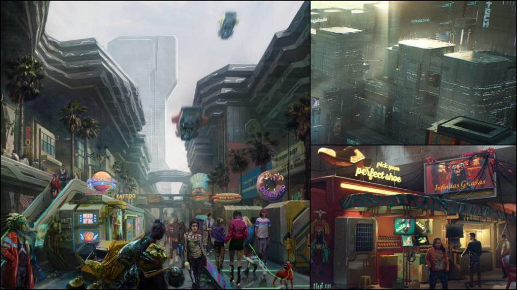 Cyberpunk 2077 shows the skyscrapers and neighborhoods of the Heywood district