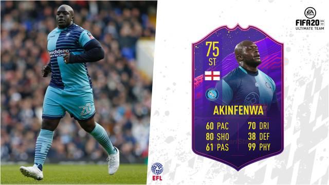 Adebayo Akinfenwa FIFA 20 hero 99 physical card