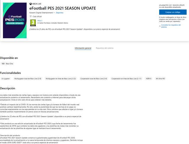 PES 2021 update PES 2020 dlc new season Microsoft Store