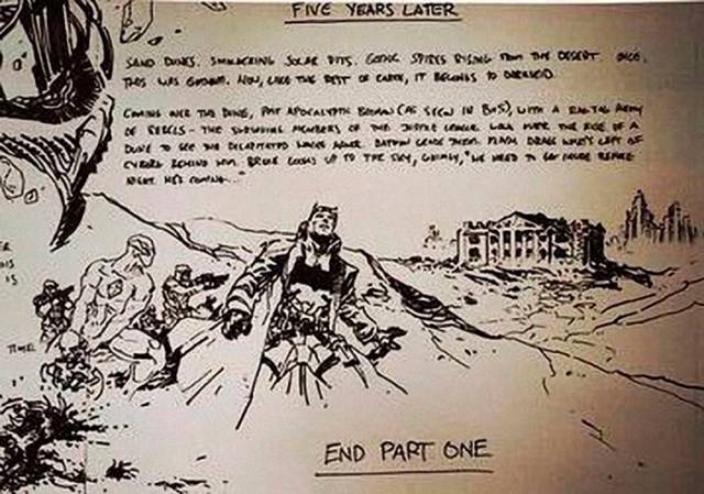 This is the storyboard of the original Justice League ending with Batman Knightmare