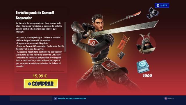 fortnite chapter 2 season 4 skin samurai looter pack price