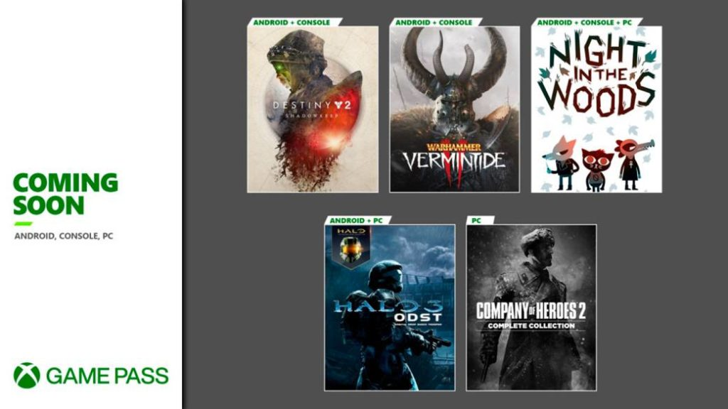 Destiny 2, Halo 3 ODST, Night in the Woods, and more are coming to Xbox Game Pass soon