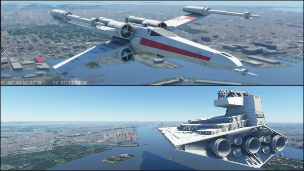 They include Star Wars ships in Microsoft Flight Simulator: X-Wing, Millennium Falcon …