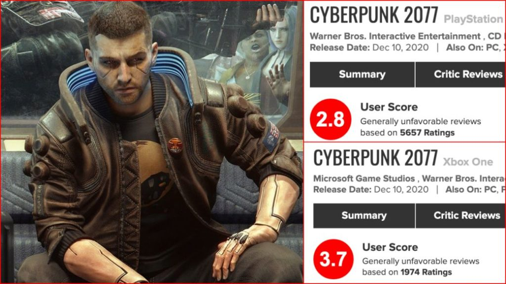 Review bombing for Cyberpunk 2077 on consoles: thousands of failures on PS4 and Xbox One