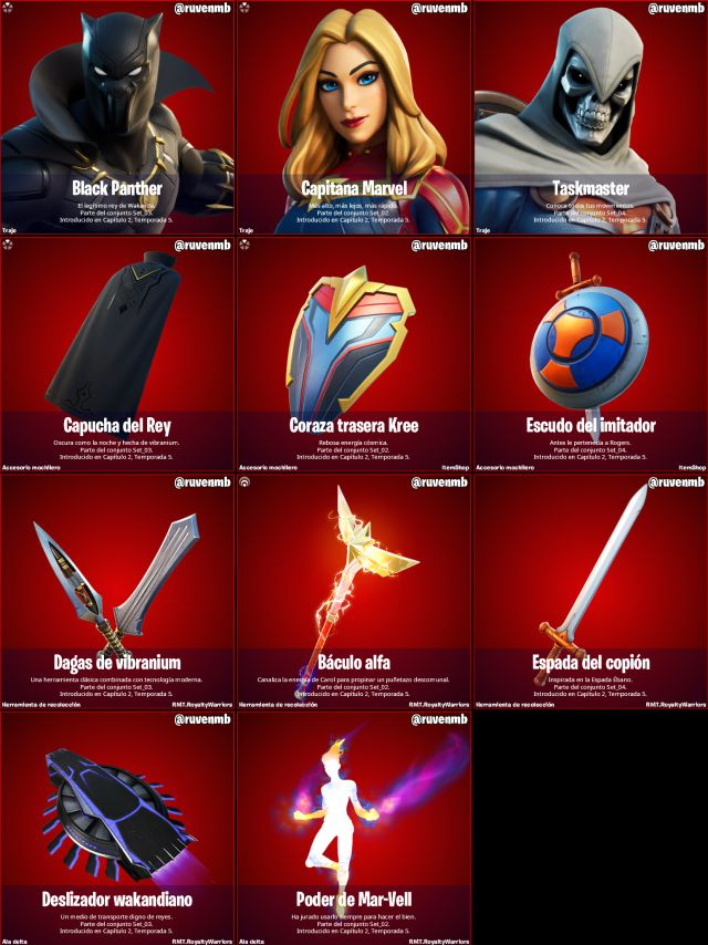 fortnite chapter 2 season 5 pack royalty and warriors skins black panther captain marvel taskmaster how to get them