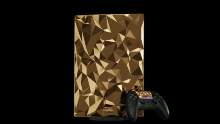 PS5 Golden Rock: a gold-plated console with alligator skin controllers