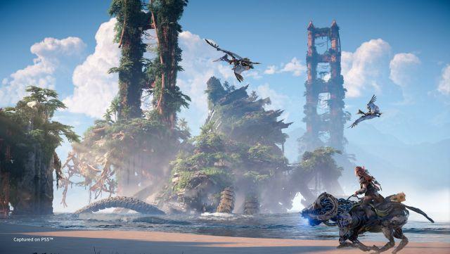 Horizon Forbidden West story scenarios machines release date PS4 PS5 Guerrilla Games